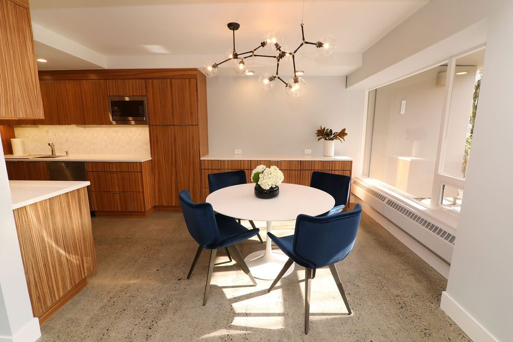 Dining area just off the kitchen in this recent condo remodel