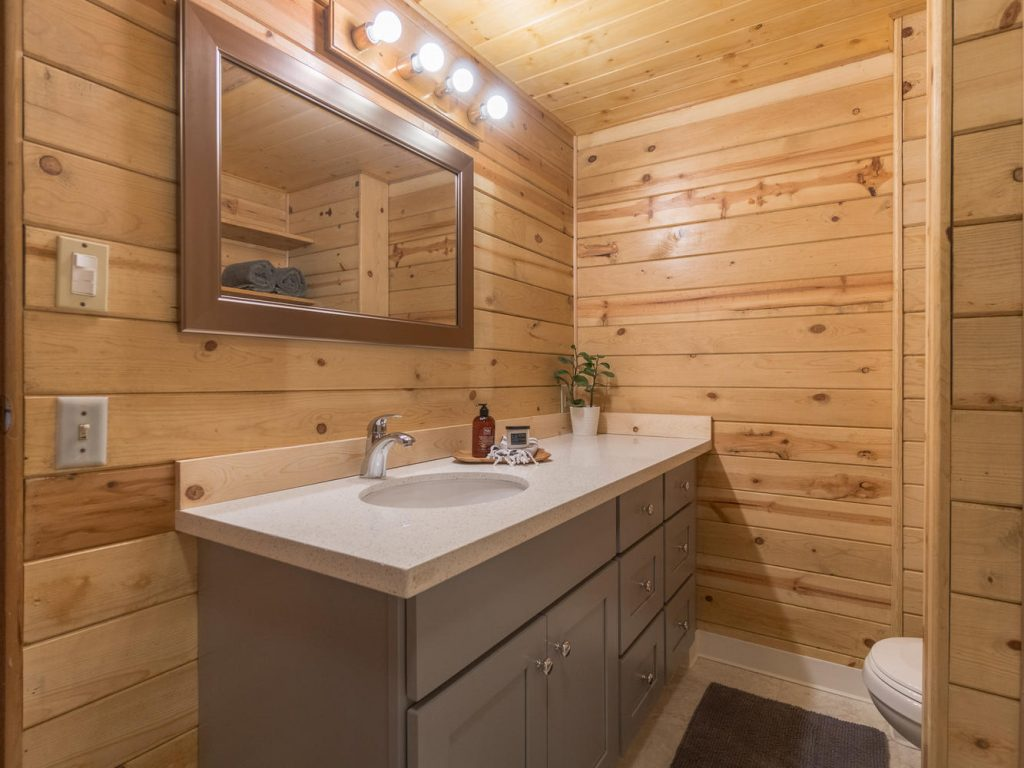 bathroom with wood planks