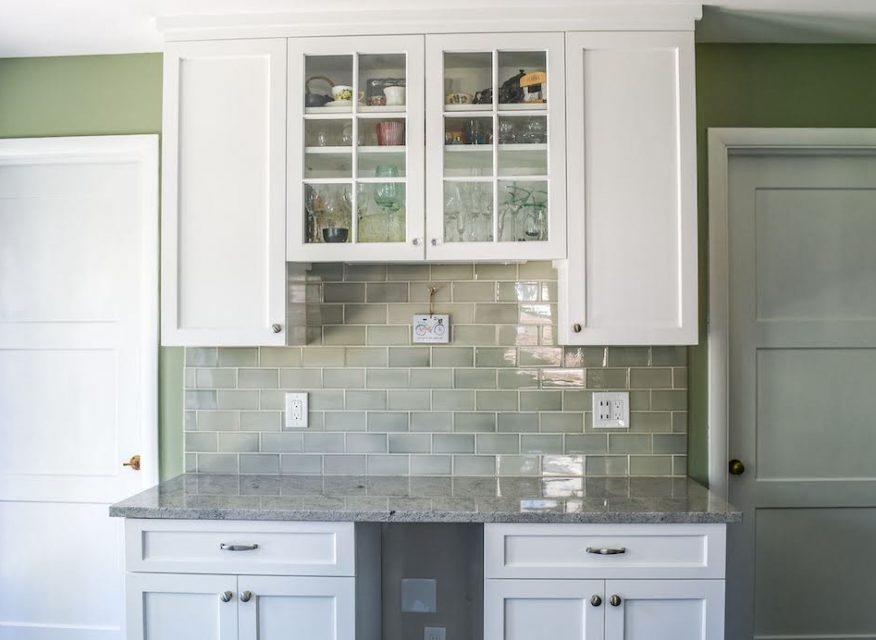 green kitchen after remodel