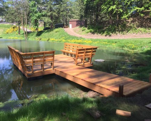 Oblique view of a custom floating dock