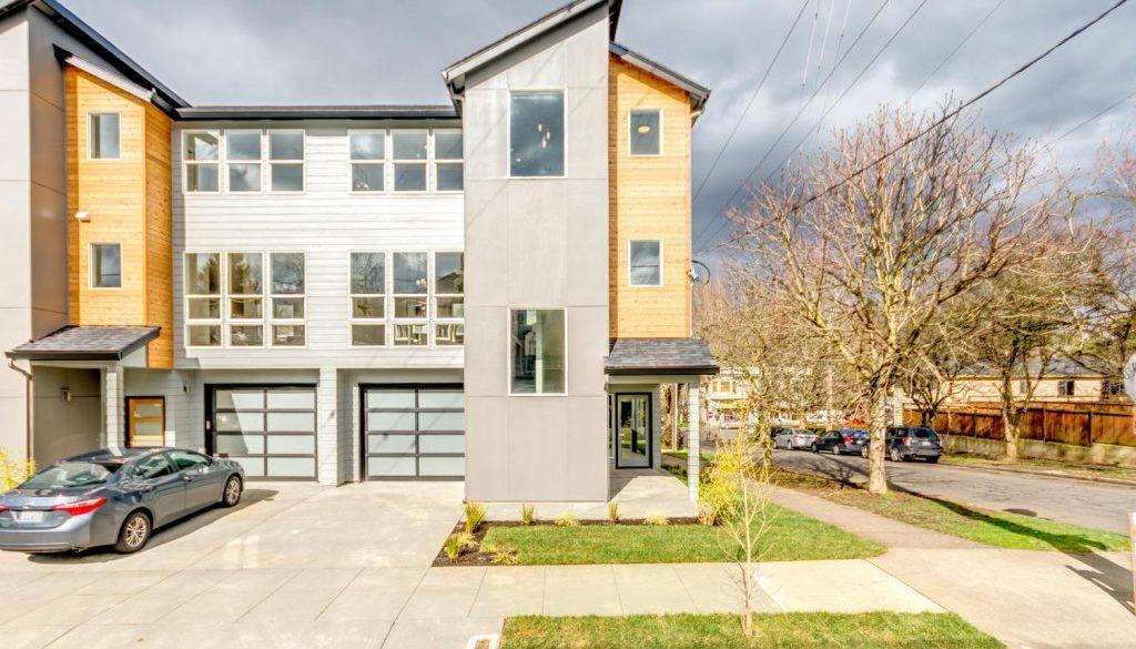 Modern duplex exterior view