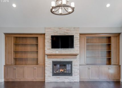 fireplace in spacious living room after remodel