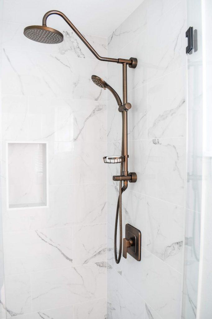rain shower in a remodeled bathroom