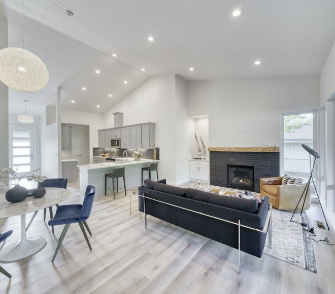 Oblique view of a remodeled kitchen and living room in Duncan, South Carolina