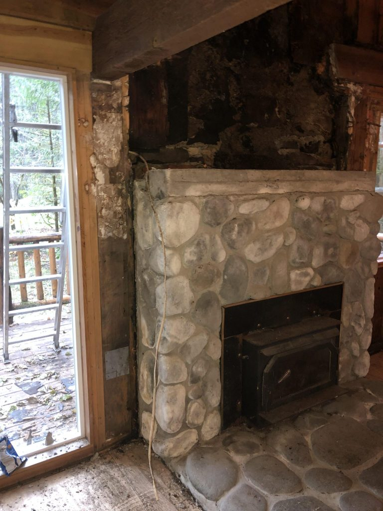 interior dry rot near fireplace